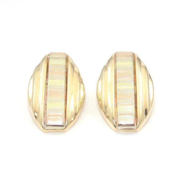 14K White Yellow Rose Gold Tri-Gold Earrings