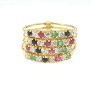 18K Yellow Gold Ring Natural Ruby Emerald Sapphire CZ Stacking Band Size 9