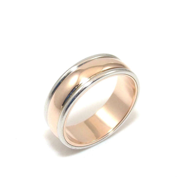 Platinum 18K Rose Gold Wedding Band Ring Size 6.5