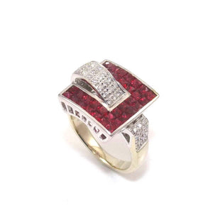 18K White Gold Ring Red Ruby Diamond Buckle Size 9.25