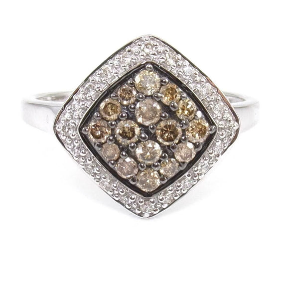 LeVian 14K White Gold Ring White Chocolate Diamond Cluster Size 7.5