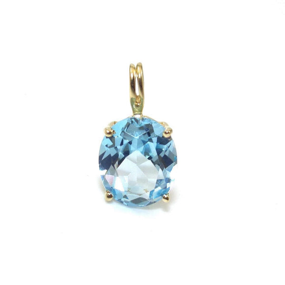 10K Yellow Gold Blue Topaz Pendant