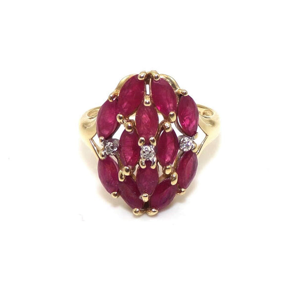 14K Yellow Gold Ring Size 8 Natural Pink Ruby Cluster