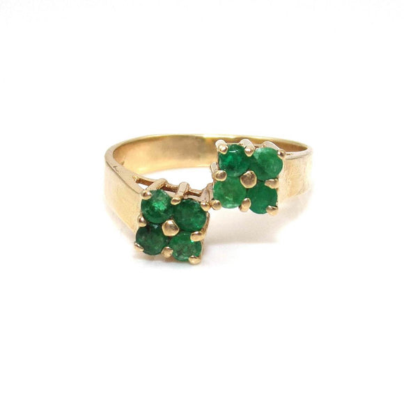 14K Yellow Gold Natural Emerald Ring Size 7.5