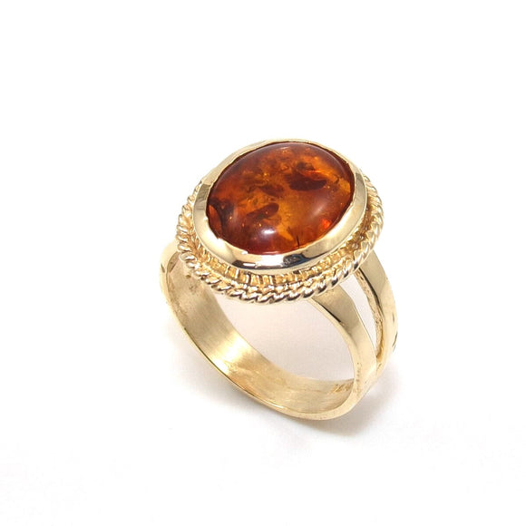 14K Yellow Gold Orange Amber Solitaire Halo Rope Ring Size 6.25