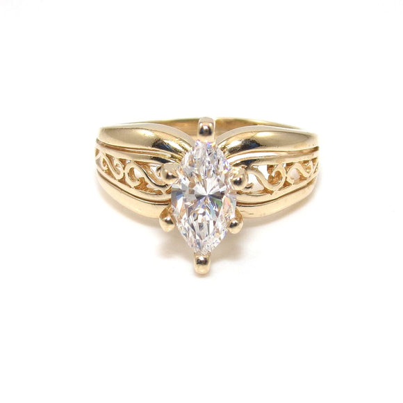 14K Yellow Gold Diamonique DQ CZ Wedding Engagement Ring Size 5.75