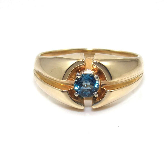14K Yellow Gold Blue Topaz Men's Ring Size 12