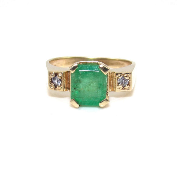 14K Yellow Gold Ring Size 6 Natural Emerald Diamond