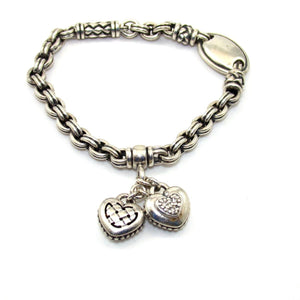 Scott Kay Sterling Silver Natural Diamond Heart Charm Dangle Bracelet 7.25