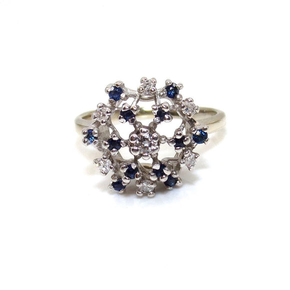 Vintage 14K White Gold Ring Size 7.25 Natural Sapphire Diamond Dome Cluster