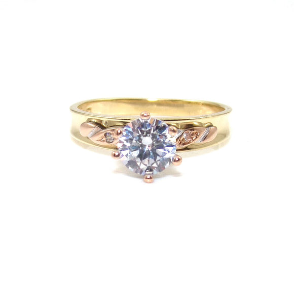 14K Yellow Gold Rose Gold Clear CZ Wedding Engagement Ring Size 7.5