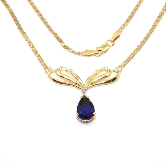 14K Yellow Gold Blue Sapphire Diamond Bismark Chain Necklace 18.5