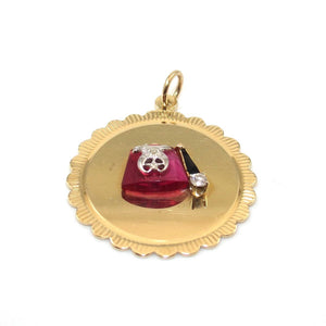 14K Yellow Gold Shriner's Masonic Hat Ruby Diamond Pendant
