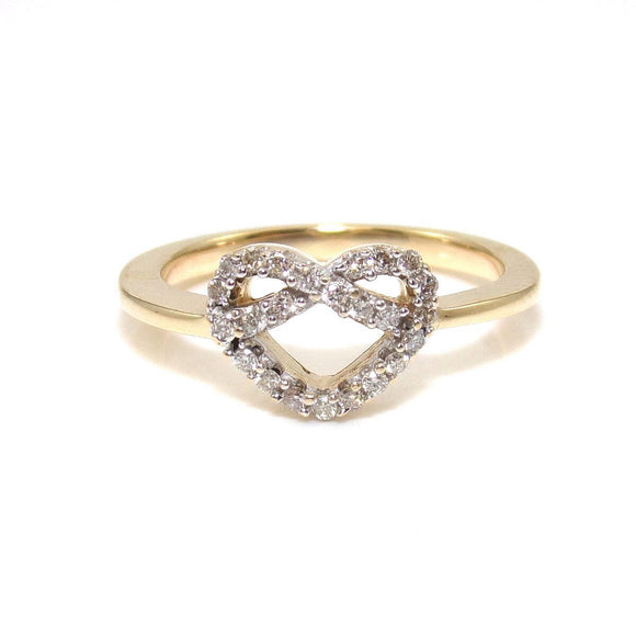 14K Yellow Gold Ring Size 7.25 Natural Diamond Heart