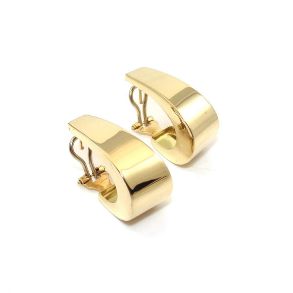 14K Yellow Gold Large Italy J Hoop Drop Earrings