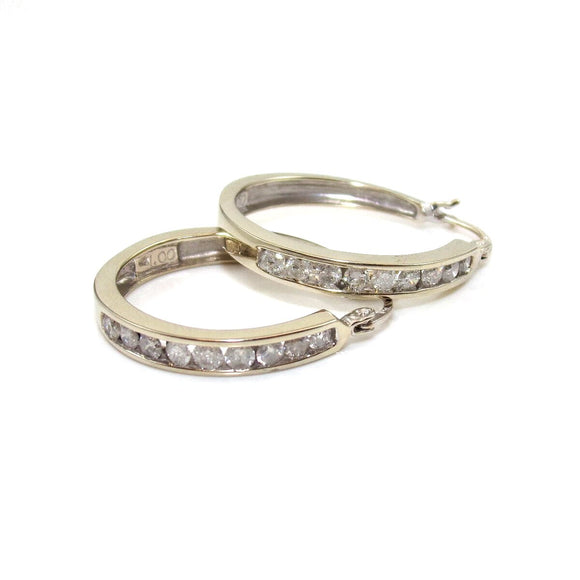 14K White Gold 1.00 ct Diamond Hoop Earrings