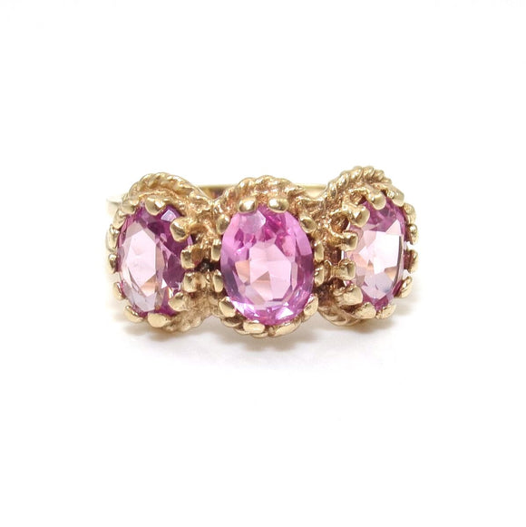 10K Yellow Gold Ring Size 6 Pink Sapphire Past Present Future Three Stone Ring