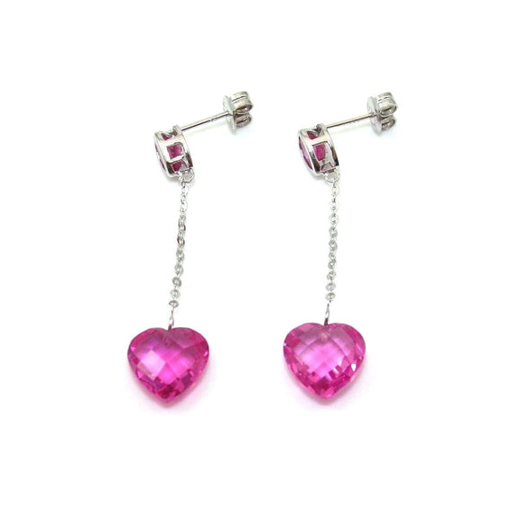 10K White Gold Earrings Pink Sapphire Heart Dangle