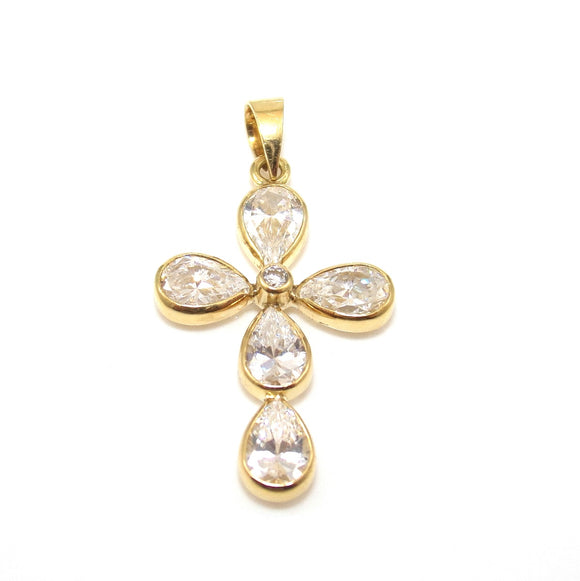 18K Yellow Gold Clear CZ Cross Pendant