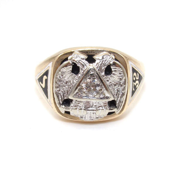 14K White Gold Yellow Gold Men's Mason Masonic 32nd Degree Diamond Ring Size 10