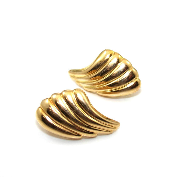 14K Yellow Gold Earrings Italy Ribbed Angel Wing Omega French Clip