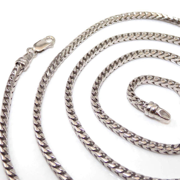 10K White Gold Men's Box Snake Chain Necklace 34