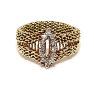 Vintage 18K Yellow Gold Ring Size 8.25 Natural Diamond Mesh Flex Chain Band