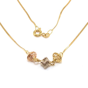 18K Yellow White Rose Gold Tri-Gold Spiral Chain Necklace 15.75""