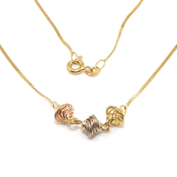 18K Yellow White Rose Gold Tri-Gold Spiral Chain Necklace 15.75
