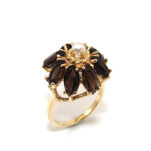 Vintage 14K Yellow Gold Smoky Quartz Pearl Raised Halo Ring Size 7.25