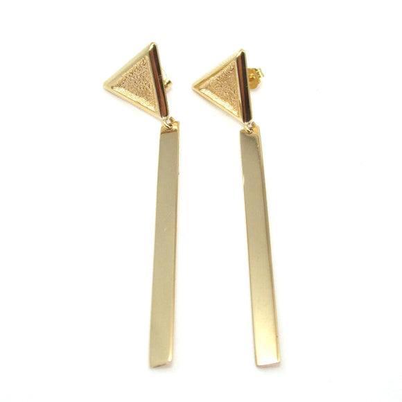 Designer 14K Yellow Gold Triangle Bar Dangle Earrings