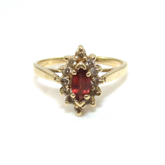 14K Yellow Gold Red Garnet Diamond Halo Ring Size 7.5