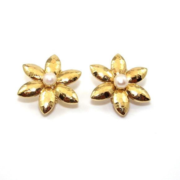 14K Yellow Gold Hammered Disco Flower Pearl French Clip Earrings