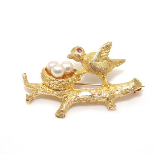 Vintage 14K Yellow Gold Pink Ruby Pearl Robins Nest Pin Brooch