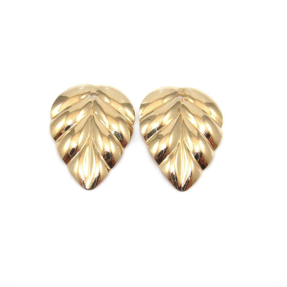 14K Yellow Gold Ribbed Leaf Earring Jackets