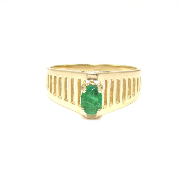14K Yellow Gold Ring Size 8.25 Natural Emerald Raised Solitaire