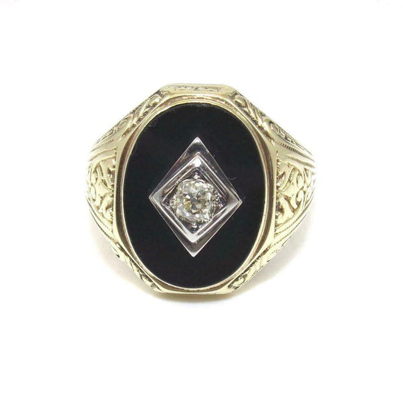 Vintage 14K Yellow Gold Ring Men's 1/4 ct Mine Cut Diamond Onyx Size 10.5