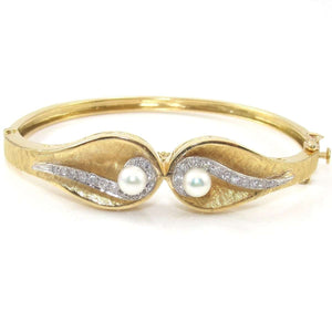 Vintage 18K Yellow Gold Modernist Tahitian Pearl Diamond Hinged Bangle Bracelet,CMDSHINE