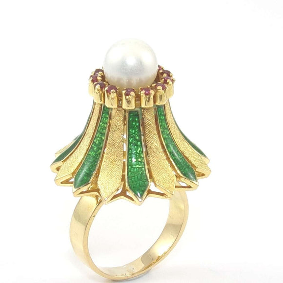 18K Yellow Gold Modernists Raised Pearl Ruby Enamel Halo Cocktail Ring Size 5, CMDSHINE