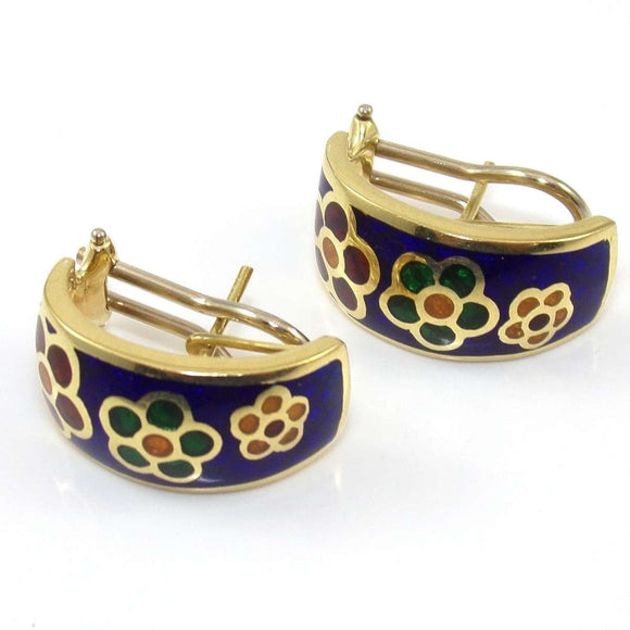14K Yellow Gold White Gold Earrings Multi Color Enamel Flower Omega French Clip, CMDSHINE