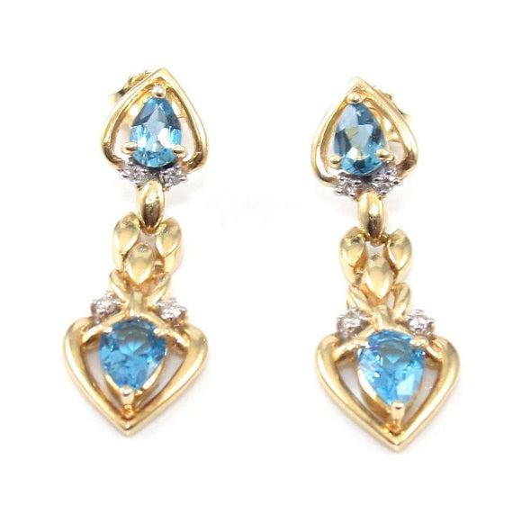 14K Yellow Gold Natural Diamond Blue Topaz Heart Dangle Earrings, CMDSHINE