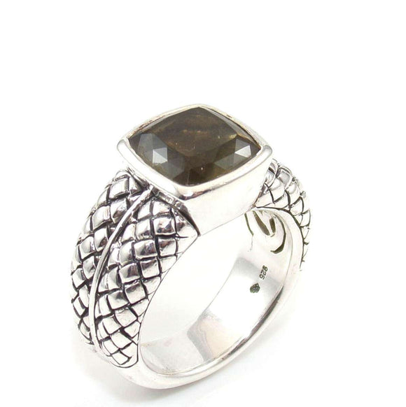 Scott Kay Sterling Silver Textured Braided Citrine Quartz Ring 7.75, CMDSHINE