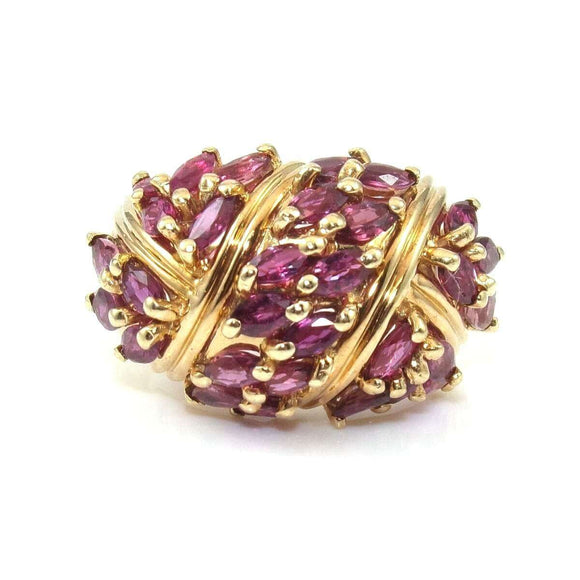 10K Yellow Gold Pink Purple Sapphire Cluster Ring Size 6.5, CMDSHINE