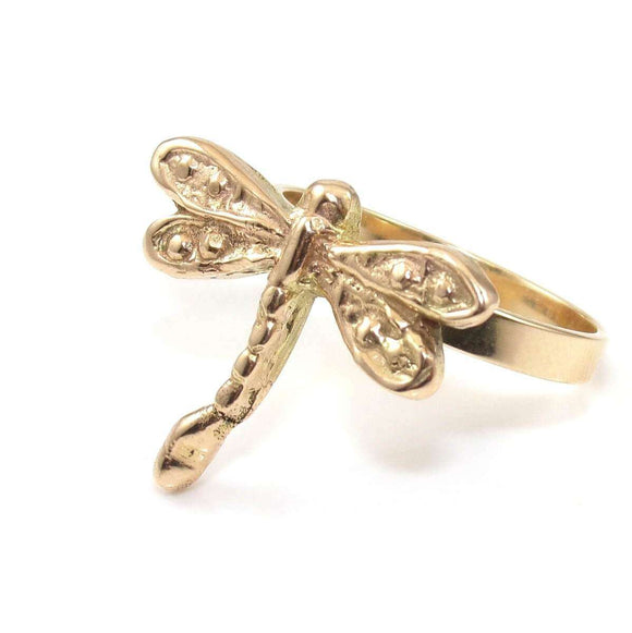 14K Yellow Gold Dragonfly Band Ring Size 10.5, CMDSHINE