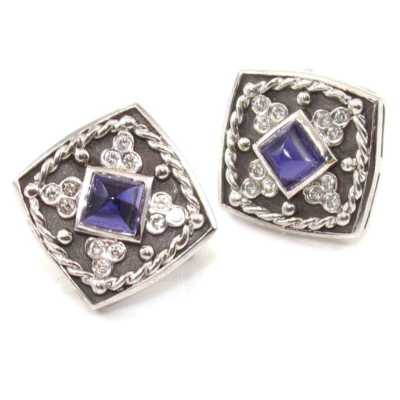14K White Gold Purple Amethyst Diamond Omega French Clip Earrings, CMDSHINE