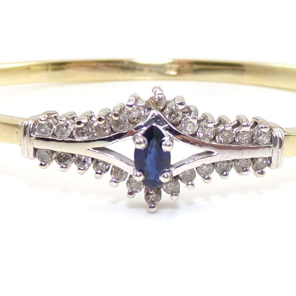 14K Yellow White Gold Natural Blue Sapphire Diamond Hinged Bangle Bracelet, CMDSHINE