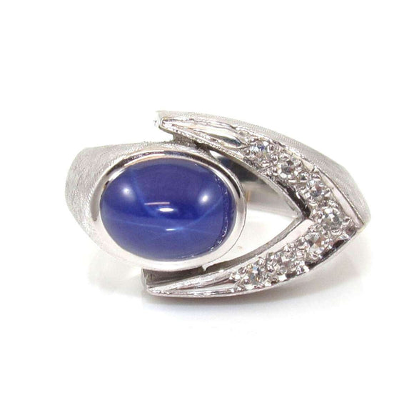 14K White Gold Natural Diamond Lindy Star Sapphire Ring Size 7.5, CMDSHINE