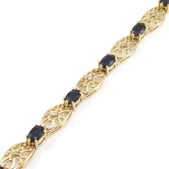 14K Yellow Gold Blue Sapphire Diamond Scroll Link Bracelet 7