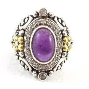 Barbara Bixby Sterling Silver 18K Yellow Gold Amethyst Topaz Saddle Ring Sz 6.5, CMDSHINE