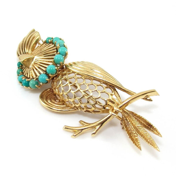 Vintage Estate 14K Yellow Gold Blue Turquoise Cockaitel Bird Pin Brooch